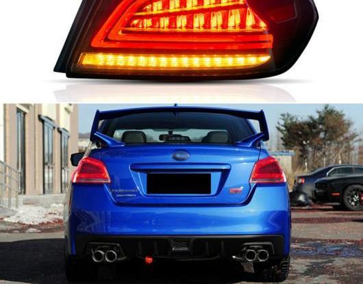 AL LED テールライト テールライト 適用: スバル WRX 2013-2018 リア ランニング ライト + ブレーキ ライト + リバース ランプ + ダイナミック レッド・スモーク ブラック AL-HH-1660