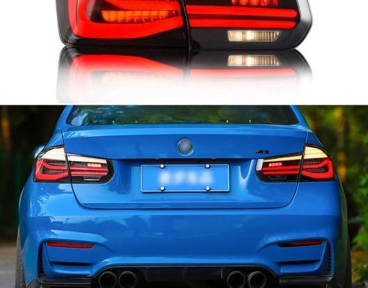 AL LED テールライト テールライト 適用: BMW F30 F80 320I 328I 2013-2017 リア フォグランプ + ブレーキ ランプ + リバース + ダイナミック レッド カバー・ブラック カバー AL-HH-1669