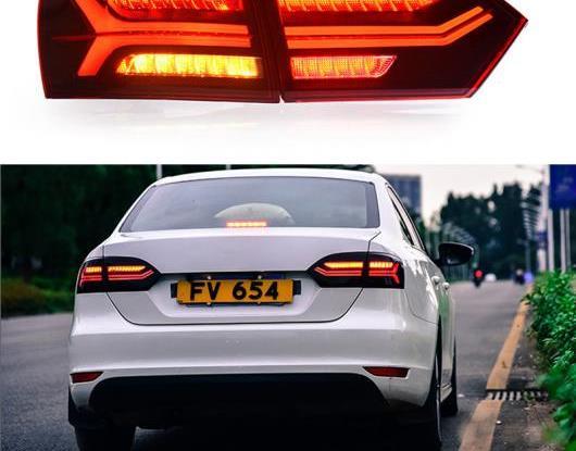 AL LED テールライト テールライト 適用: フォルクスワーゲン/VOLKSWAGEN ジェッタ MK6 2012 2013 2014 リア フォグランプ + ブレーキ ライト + リバース + ダイナミック ブラック・レッド AL-HH-1692