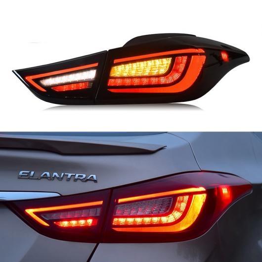 AL LED テールライト テールライト 適用: ヒュンダイ/現代/HYUNDAI エラントラ 2011-2016 リア ランニング ライト + ブレーキ ライト + リバース + ダイナミック ターンシグナル ブラック・レッド AL-HH-1705