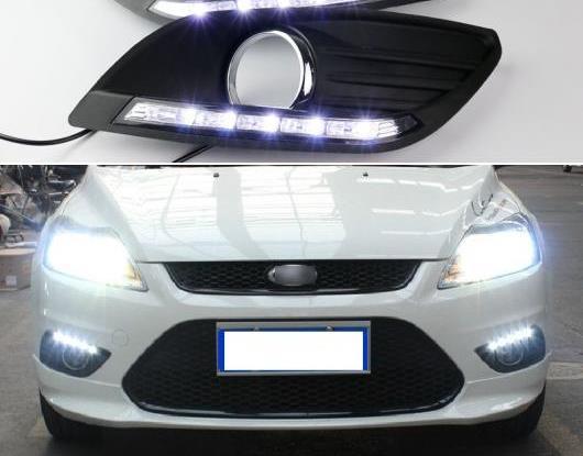 AL 2ピース LED デイタイムランニングライト 適用: フォード/FORD フォーカス 2 MK2 2009 2010 2011 2012 2013 2014 オート 調光 機能 12V LED DRL ランプ AL-HH-1733