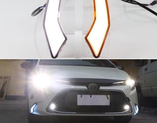 AL 適用: トヨタ カローラ L/LE/XLE US 2019 2020 ダイナミック イエロー ターンシグナル 防水 ABS 12V DRL ランプ LED デイタイムランニングライト AL-HH-1764