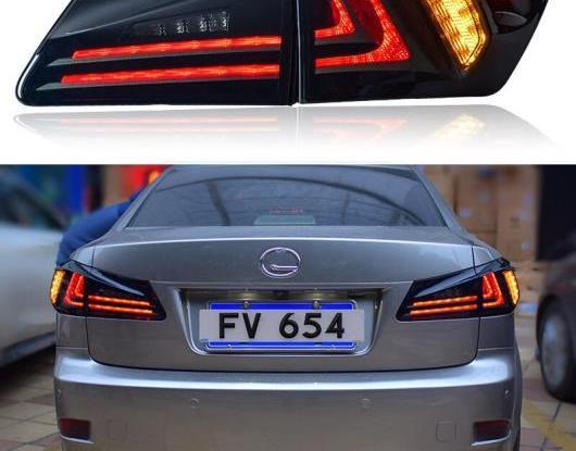 AL LED テールライト テールライト 適用: レクサス IS250 IS300 2006-2012 リア ランニング フォグランプ + ブレーキ ライト + リバース + ターンシグナル ブラック・レッド AL-HH-1767