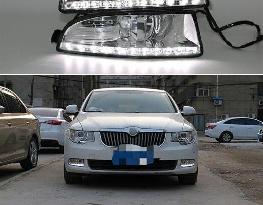 AL 適用: シュコダ オクタヴィア A5 2010 2011 2012 2013 防水 ABS DRL 12V LED デイタイムランニングライト フォグランプ カバー AL-HH-1798