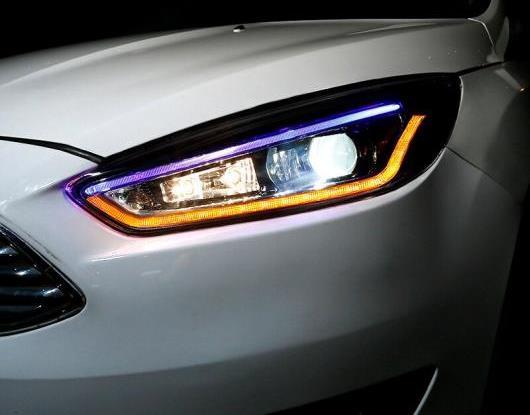 AL LED ヘッドライト 適用: フォード/FORD フォーカス 3 MK3 2015-2018 LED DRL ブルー 幅 ライト ダイナミック ターンシグナル ヘッド ランプ アセンブリ AL-HH-1799