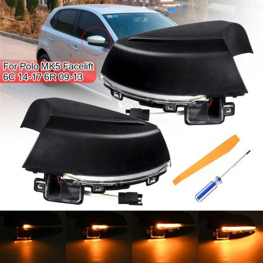 AL 2ピース ダイナミック ターンシグナル LED サイド バックミラー ミラー インジケーター ウインカー リピーター ライト 適用: VW ポロ MK5 フェイスリフト 6C 6R 2009-2017 AL-HH-1882