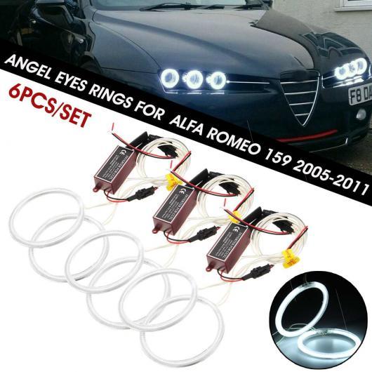 AL 6ピース/セット 95mm 90mm 85mm ホワイト LED CCFL エンジェルアイ HALO リング ヘッドライト 適用: アルファ ロメオ 159 2005-2011 AL-HH-1915
