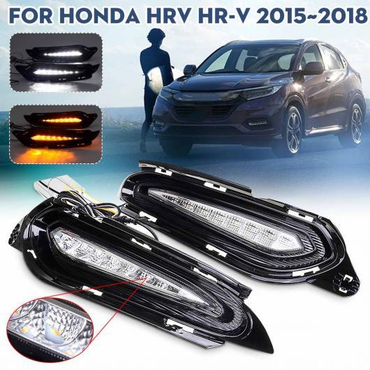 AL ペア LED DRL デイタイム ランニング ライト ランプ 適用: ホンダ HRV HR-V 2015-18 ホワイト ライト DRL イエロー ライト ターンシグナルランプ 2色ホールなし AL-HH-1953