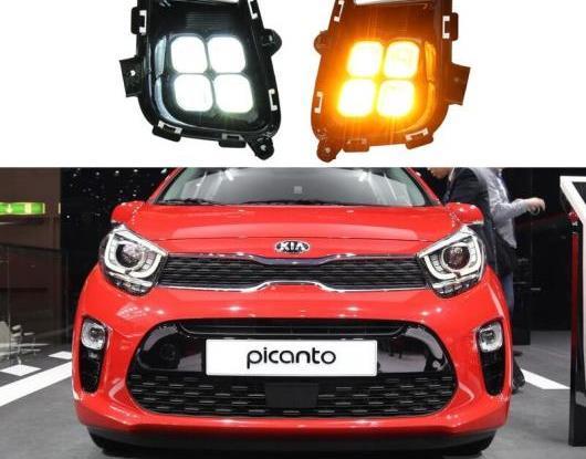 AL 2ピース 適用: 起亜 ピカント 2018 2019 2020 イエロー ターンシグナル 防水 ABS DRL 12V LED デイタイムランニングライト LED フォグランプ AL-HH-2012