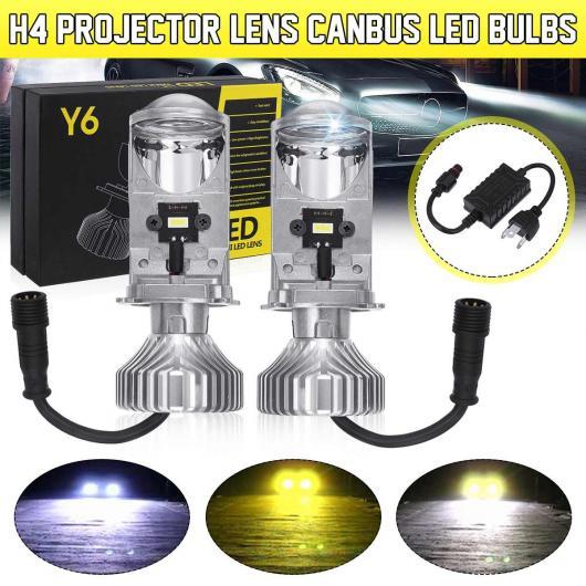 AL 2ピース H4 LED ミニ/MINI(BMW) BI-LED プロジェクター ヘッドライト レンズ Y6S LED H4 ヘッドランプ レトロフィット HI-LOW ビーム ヘッドライト バルブ AL-HH-2031