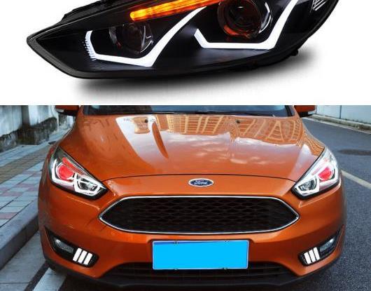 AL LED ヘッドライト 適用: フォード/FORD フォーカス 3 MK3 2015-2018 LED DRL ターンシグナルライト LED レッド デビル アイ ヘッド ランプ アセンブリ AL-HH-2075