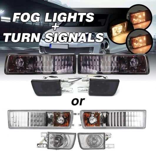 AL フロント バンパー スモーク/クリア レンズ フォグ ランプ コーナー シグナル ライト 2ピース フォグライト&2ピース ターン シグナル 適用: VW スモーク レンズ・クリア レンズ AL-HH-2084