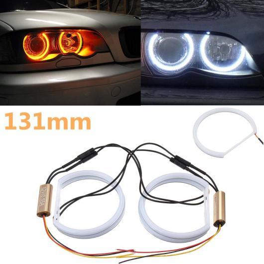 AL 4X131mm コットン ライト エンジェルアイ ライト ホワイト + イエロー LED エンジェル アイ HALO リング ターン シグナル 適用: BMW E36 E38 E39 E46 AL-HH-2113