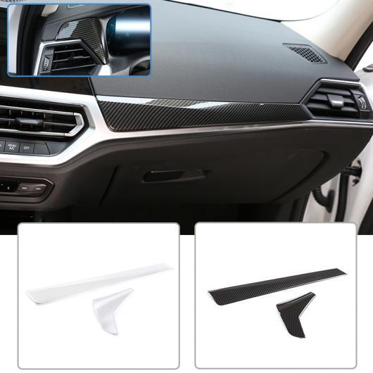 AL LHD 2ピース ABS カーボンファイバー 適用: BMW G20 G28 3シリーズ 2020 ダッシュボード 装飾 パネル トリム 左ハンドル アクセサリー カーボンファイバー・シルバー AL-II-0173