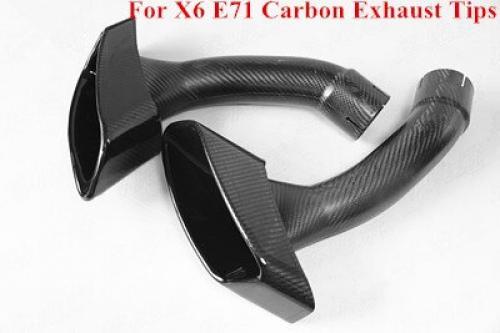 AL 1ペア 光沢 カーボンファイバー X6 エキゾースト マフラー チップ 適用: BMW X6 E71 30D 35D 40D 2008~2013 テール パイプ X6M AL-II-0357