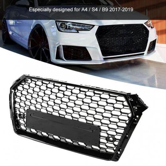 AL 適用: RS スタイル フロント バンパー メッシュ フード グリル 光沢 ブラック アウディ/AUDI A4 S4 B9 2017 2018 2019 フロント AL-II-0417