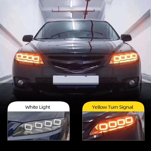AL ヘッド ランプ 適用: マツダ 6 ヘッドライト 2004-2012 MAZDA6 オール LED DRL ダイナミック シグナル エンジェル アイ アクセサリー アテンザ AL-II-1870