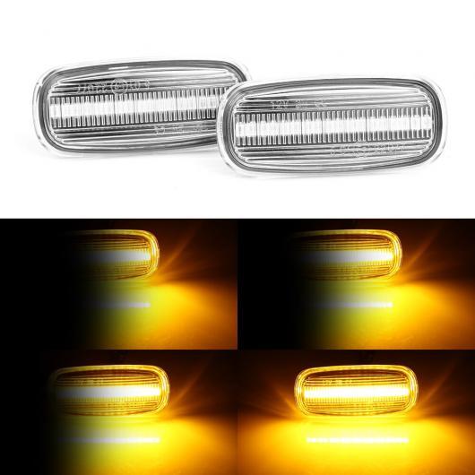 AL 2ピース LED ダイナミック サイド マーカー ウインカー シーケンシャル ライト フロー ウォーター インジケータ 適用: アウディ/AUDI A3 S3 ホワイト シェル・スモーク シェル AL-II-1875