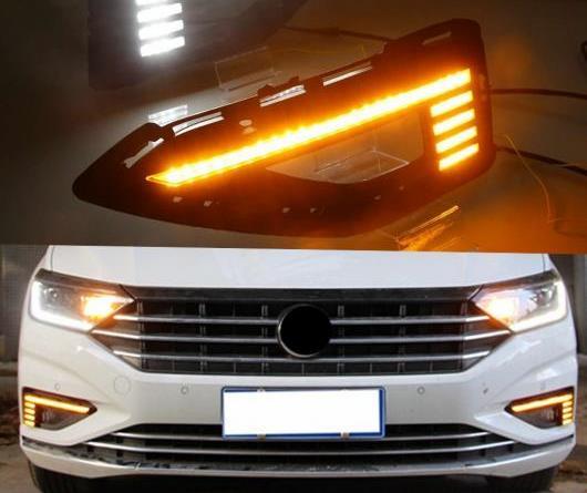 AL 2ピース 適用: フォルクスワーゲン/VOLKSWAGEN VW ジェッタ サギター 2019 ダイナミック イエロー ウインカー リレー 12V DRL ランプ LED デイタイムランニングライト ホワイト イエロー AL-II-1901