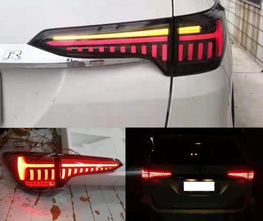 AL 適用: トヨタ フォーチュナ テール ライト 2016 2017 2018 2019 ダイナミック シグナル ランプ LED テールライト DRL アクセサリー レッド カバー・ブラック カバー AL-II-1945