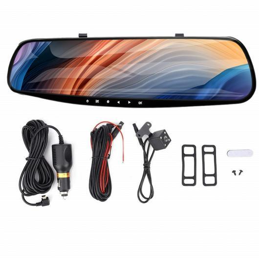AL バックミラー ミラー DVR カメラ 4.3inch LCD スクリーン フル HD 1080P ナイト ビジョン ドライビング レコーダー デュアル レンズ デュアル レンズ なし AL-II-2088