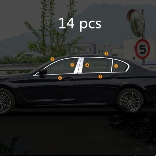 AL ステンレス スチール ウインドウ カバー トリム ウインドウ セントラル ピラー トリム 適用: BMW 5シリーズ 528I 530I G30 14ピース AL-II-2314