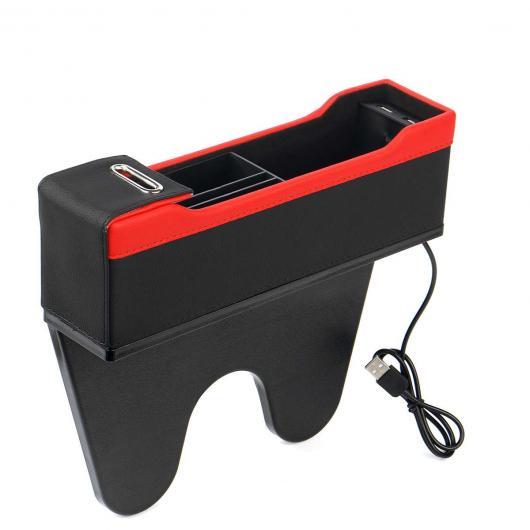 適用: ブラック~ブラックレッド ボックス AL パッセンジャー オーガナイザー 隙間 PU カーシート ユニバーサル チャージャー AL-KK-3386 ポケット ストレージ ドライバ レザー USB オート ギャップ 2 4色
