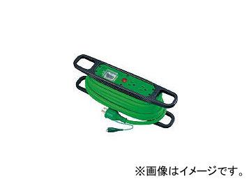 日動工業/NICHIDO ハンドリール 100V 3芯×10m 緑 アース漏電しゃ断器付 HREB102G(3272605) JAN:4937305011867