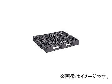 日本プラパレット プラスチックパレットLA-1311RR 片面四方差し 黒 LA1311RRBK
