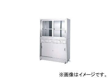 シンコー/SHINKOHIR ステンレス保管庫引出付上部ガラス戸下部ステンレス戸ベース仕様 VDG15060