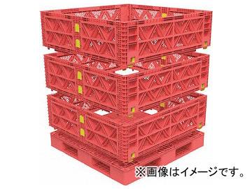 トラスコ中山 マルチステージコンテナ メッシュ 3段 1100×1100 赤 TMSC-M1111-R(7698143)