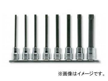 """コーケン/Koken 3/8""""(9.5mm) イジリ止めトルクスビットソケット(丸軸) レールセット 8ヶ組 RS3025/8-L100RH"""