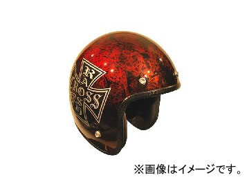 2輪 72JAM JET HELMET ジェットヘルメット JAM CUSTOM PAINTING RASH CROSS RD/BR JCP-15 JAN:4562286790274