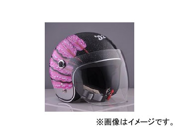 2輪 72JAM JET HELMET ジェットヘルメット JAM CUSTOM PAINTING Ladies&Kids Feather JET Pink IWK-06 JAN:4562286791059