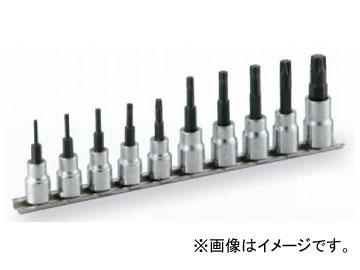 """トネ/TONE 9.5mm(3/8"""") トルクスソケットセット(強力タイプ・ホルダー付) 10点 品番:HTX310"""
