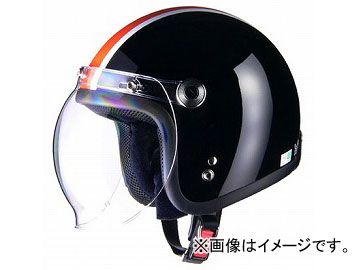 2輪 リード工業 BARTON ジェットヘルメット ブラック×オレンジ フリーサイズ(57~60cm未満) BC-10