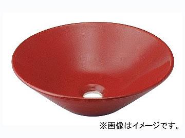 カクダイ 丸型手洗器 鉄赤 品番:493-037-R JAN:4972353013739