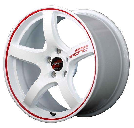 MID RMPレーシング R50 ホイール ホワイト/リムレッドライン 18インチ×8.5J +45 5H114 国産車 入数:1台分(4本)