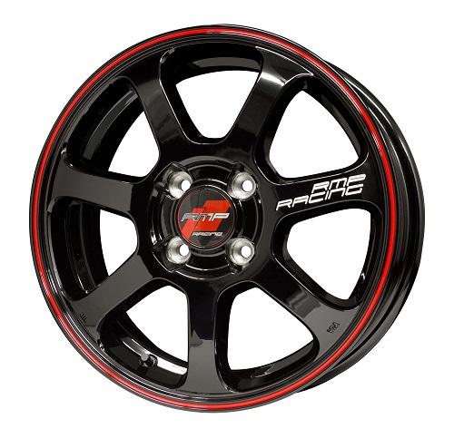 MID RMPレーシング R07 ホイール ブラック/リムレッドライン 17インチ×7J +45 4H100 国産車 入数:1台分(4本)