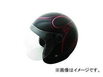 2輪 TNK工業 スモールジェット型 ヘルメット WJ-65DX シャドウ カラー:ブラックラメピンクファイアー