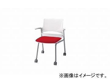 ナイキ/NAIKI 会議用チェアー 肘掛付 レッド E275-1F-RE 585×575×760mm