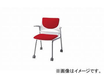 ナイキ/NAIKI 会議用チェアー 肘掛付 レッド E275-2F-RE 585×575×760mm