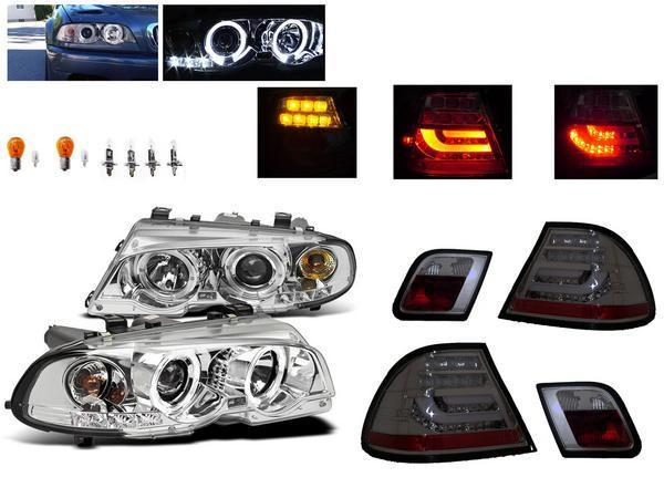 送料無料 BMW E46 クーペ 前期 LED イカリング プロジェクター ヘッドライト & LED ファイバー テールランプ 前後 左右 セット ヘッドランプ