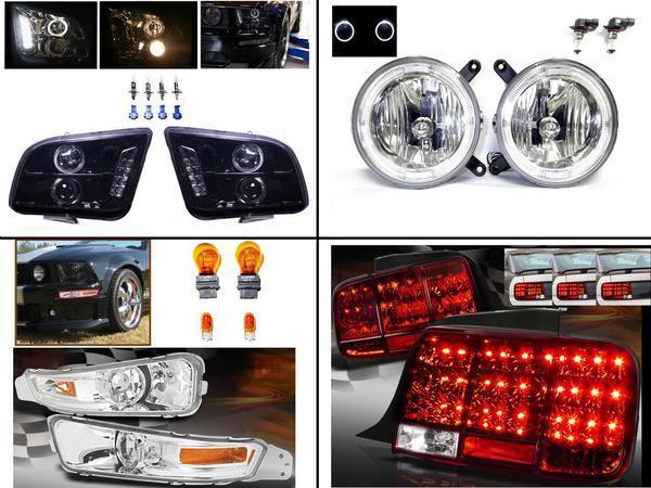 送料無料 フォード マスタング 06-09 LED ヘッドライト & テールランプ & フロント ウィンカー & フォグランプ 左右セット ライト ヘッドランプ
