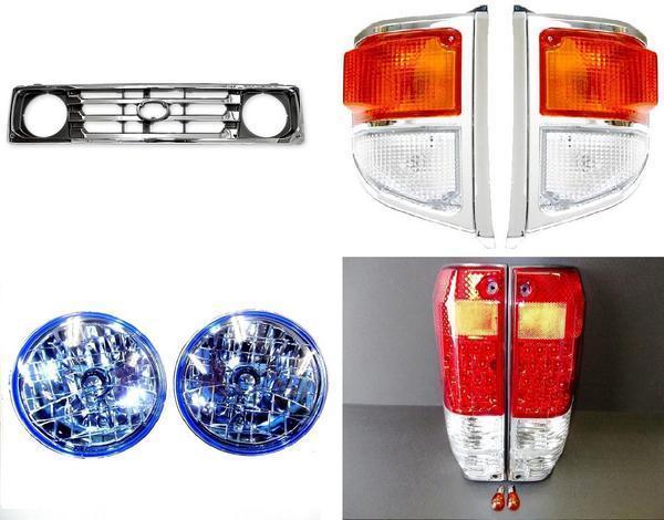送料無料 大型商品 トヨタ ランクル 70 系 77 フロントグリル ヘッドライト LEDテールランプ コーナーランプ 左 右 セット HZJ77 PZJ77 ランドクルーザー