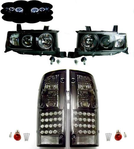 送料無料 トヨタ bB オープンデッキ NCP34 LED イカリング フロント ヘッドライト & LED テールランプ 前後 左右 セット ビービー ライト