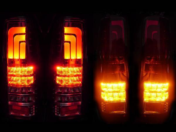 送料無料 スズキ ジムニー JB23W 98y-18y 流れるウィンカー リア ファイバー LED インナーブラック テールランプ 左右 セット テール 黒