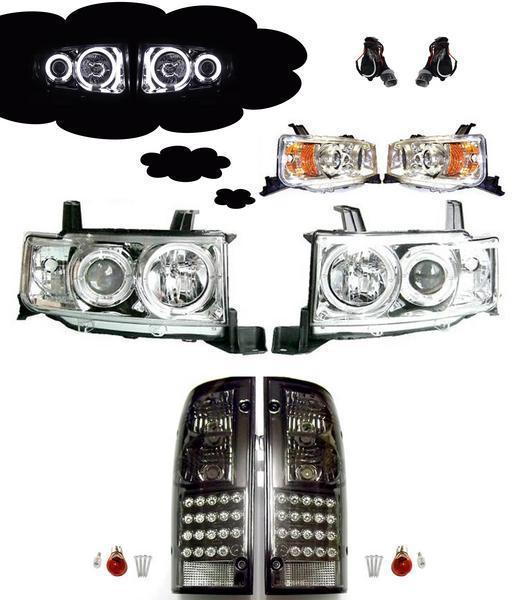 送料無料 トヨタ bB オープンデッキ NCP34 フロント CCFLヘッドライト アンバー リフレクター タイプ & リア LEDテール SET ランプ ライト