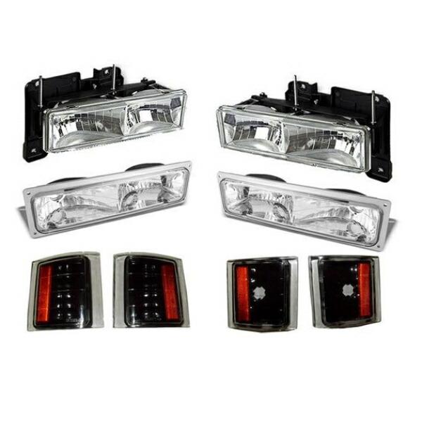 送料無料 シボレー タホ / サバーバン / K1500 / C1500 クリスタル ヘッドライト & コーナーランプ & ウィンカー パークシグナル 左右 黒