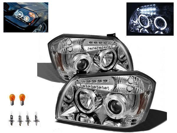 送料無料 ダッジ マグナム インナークロムメッキ LED イカリングプロジェクターフロントヘッドライト 左右セット アンバーリフレクター